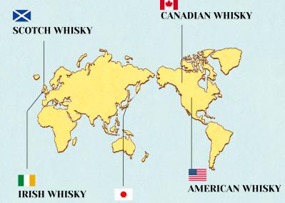 """世界地図でひと目でわかる、ウイスキー  """"五大聖地""""の歴史。"""