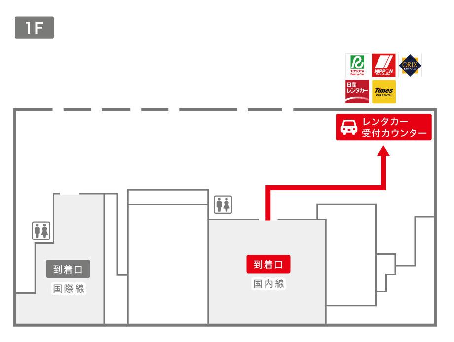 松山空港レンタカー受付カウンター案内図