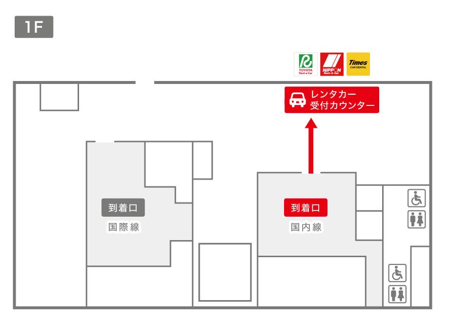 鳥取空港レンタカー受付カウンター案内図