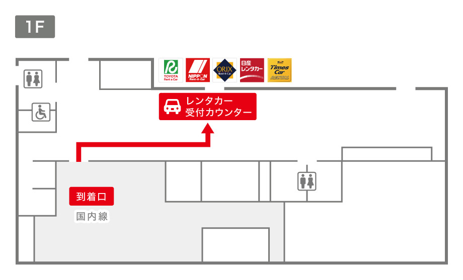 中標津空港レンタカー受付カウンター案内図