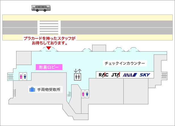 宮古空港レンタカー送迎バス案内図
