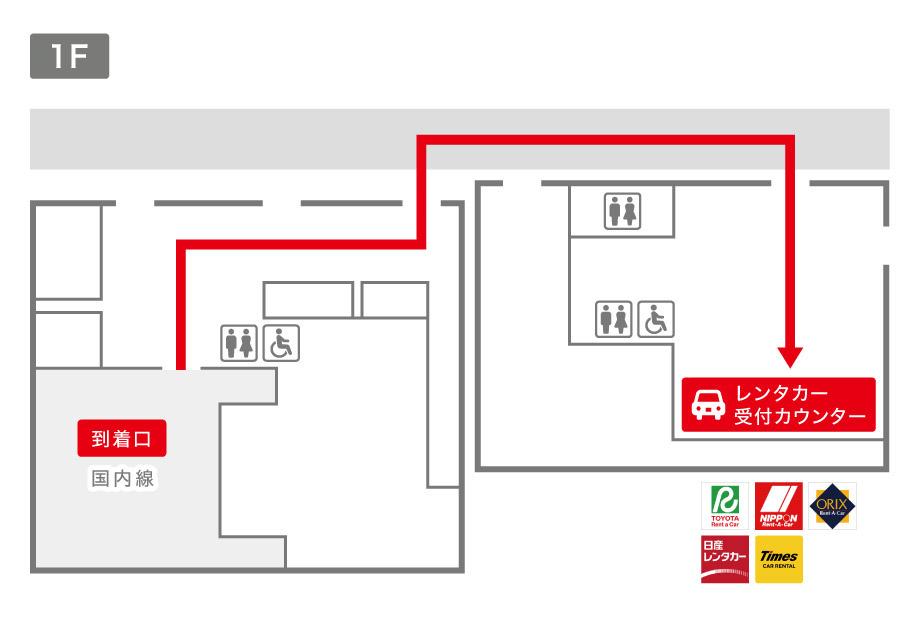 山口宇部空港レンタカー受付カウンター