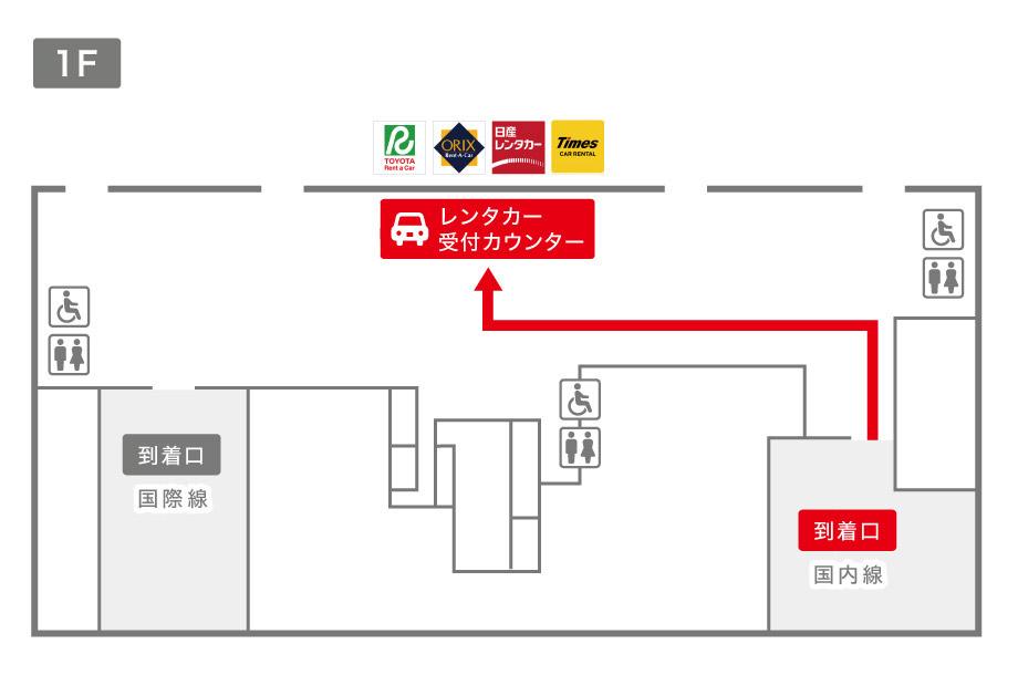 新潟空港レンタカー受付カウンター案内図