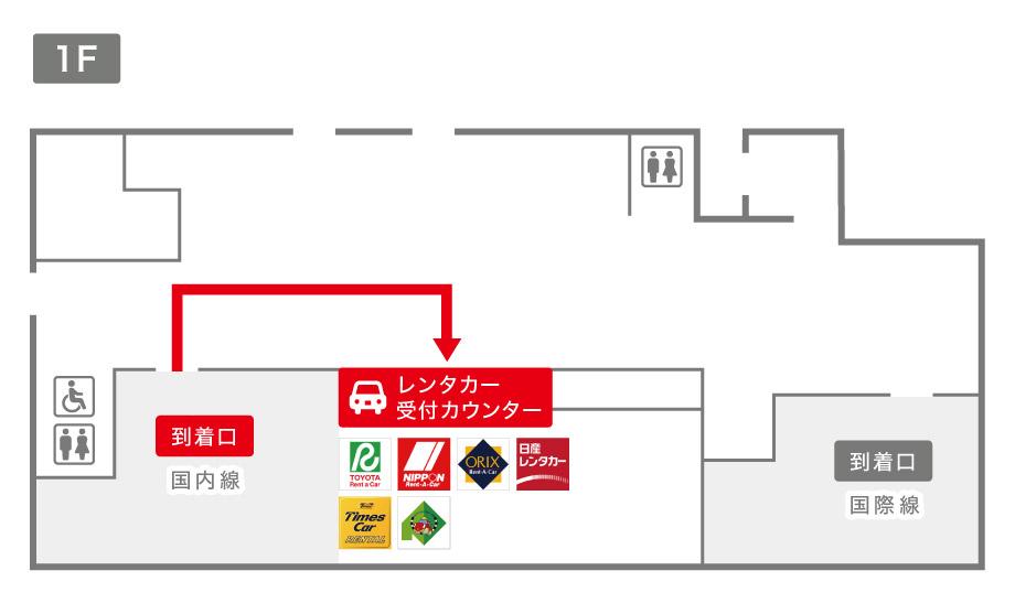 帯広空港レンタカー受付カウンター案内図