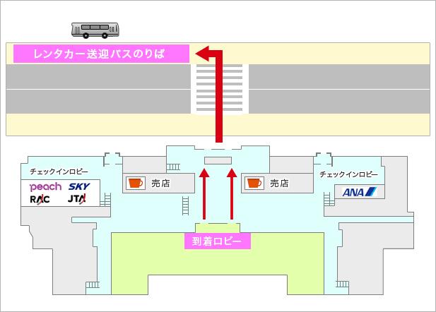 石垣島空港レンタカー送迎バスのりば案内図