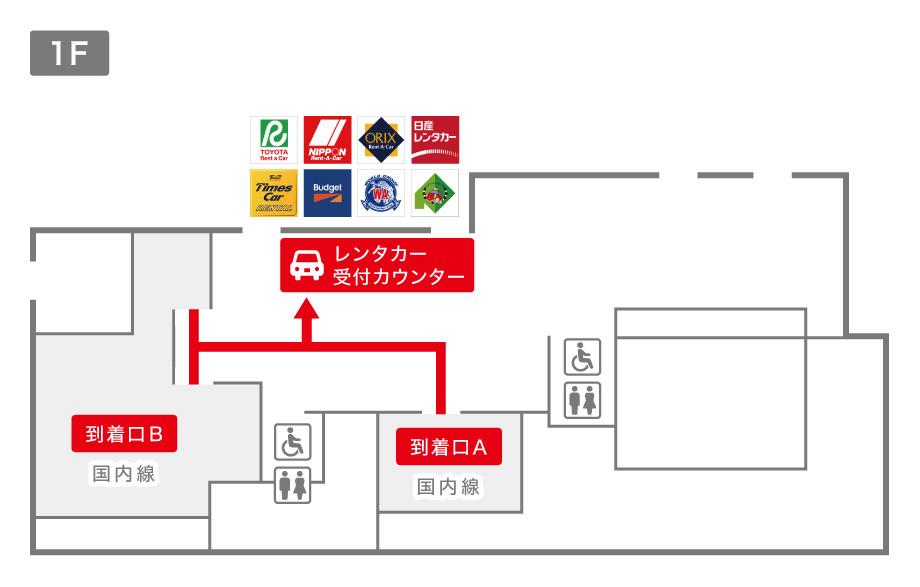 旭川空港レンタカー受付カウンター案内図
