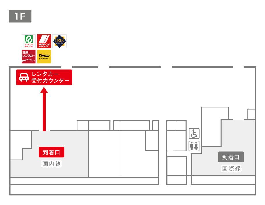 福島空港レンタカー受付カウンター案内図