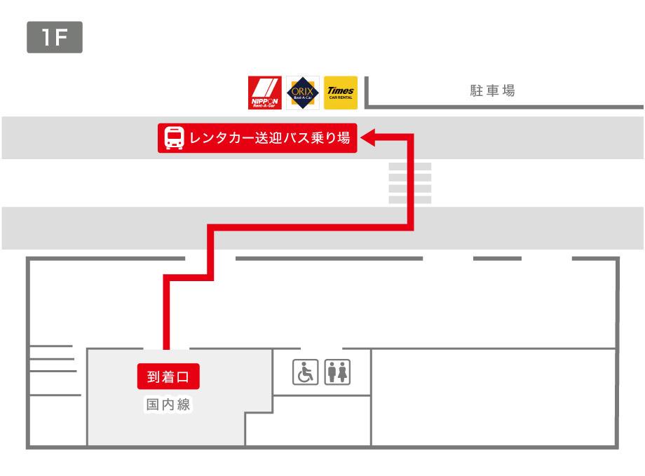 奄美空港レンタカー送迎バス乗り場案内図