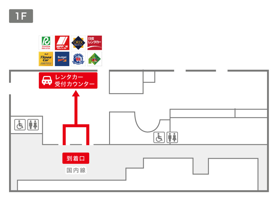 函館空港レンタカー受付カウンター案内図