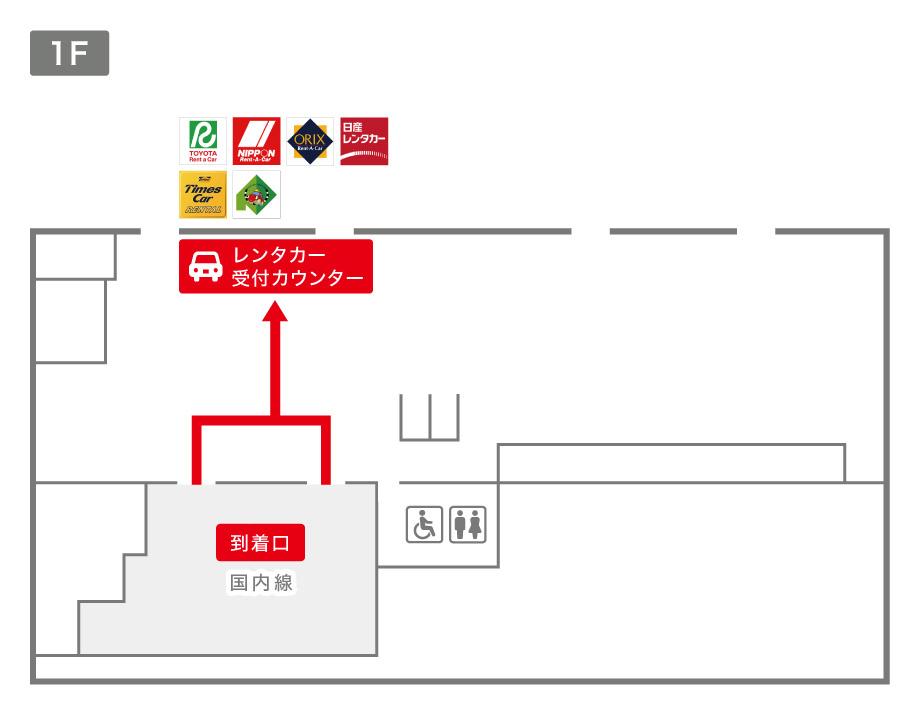 釧路空港レンタカー受付カウンター案内図