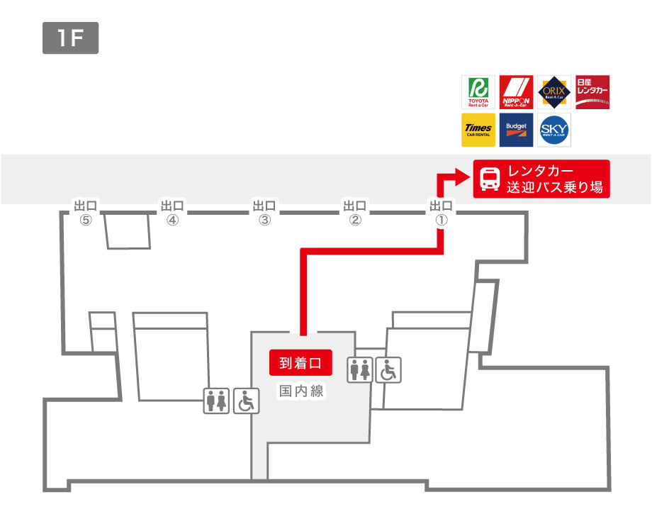 鹿児島空港レンタカー送迎バス乗り場案内図