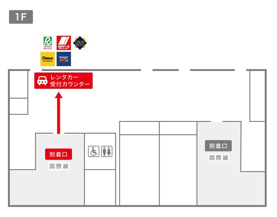 出雲空港レンタカー受付カウンター案内図
