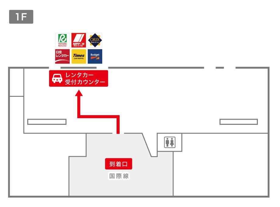 高知空港レンタカー受付カウンター案内図
