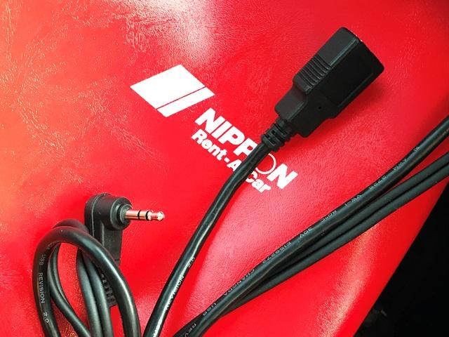 ▲スマホ音楽&充電OK(USB端子&AUXケーブル付き)