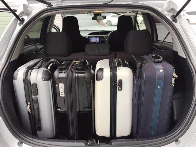 ▲荷室空間はキャリーバッグ(機内持ち込みサイズ)×4個が目安サイズ!