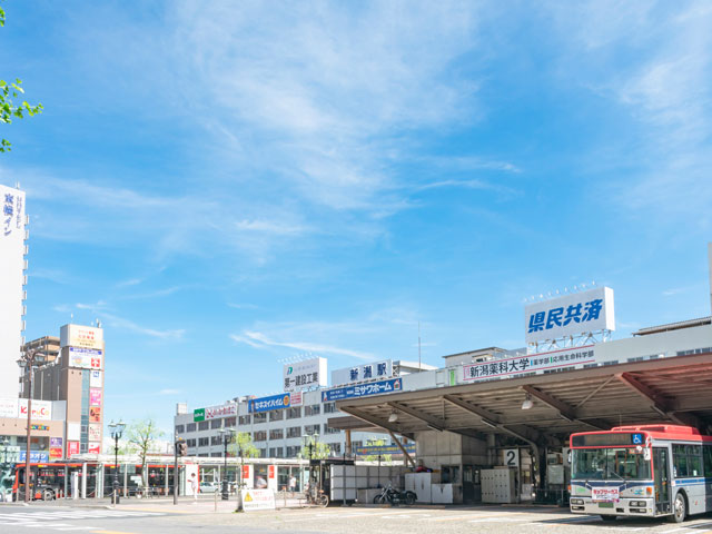 JR新潟駅は、上越新幹線や在来線の信越本線・白新線・越後線が停車する新潟県新潟市にあるターミナル駅です。東京駅から上越新幹線でおよそ1時間50分。空の玄関口となる新潟空港からレンタカーやリムジンバスに乗り、およそ30分で到着します。駅から約10分の新潟中央JCTは日本海東北自動車道・磐越自動車道・北陸自動車道を結び、秋田、会津若松、東京や富山方面へのアクセスに便利です。 新潟駅の北には日本最長の川・信濃川が流れており、駅から対岸にかけて新潟市の中心市街地が広がっています。万代口(北口)周辺は、東大通り(県道33号・国道7号)を中心としたオフィス街。信濃川方面に進むとショッピングタウンの万代シティが広がり、対岸には繁華街の古町エリアが広がっています。 万代口から車で約4分。万代シティと古町をつなぐ萬代橋(ばんだいばし)は、国の重要文化財にも指定されている新潟市のシンボルです。長さは306.9m。6つのアーチが連なる石造りの重厚な外観は、日中はもちろんライトアップされた姿もおすすめです。橋の上から望む信濃川の風景とあわせお楽しみください。 日本海まで360度みわたせるBefcoばかうけ展望室は、萬代橋から車で約1分の朱鷺メッセ新潟コンベンションセンター内にあります。日本海側有数の規模を持つ水族館・マリンピア日本海までは、新潟駅から車で約15分です。