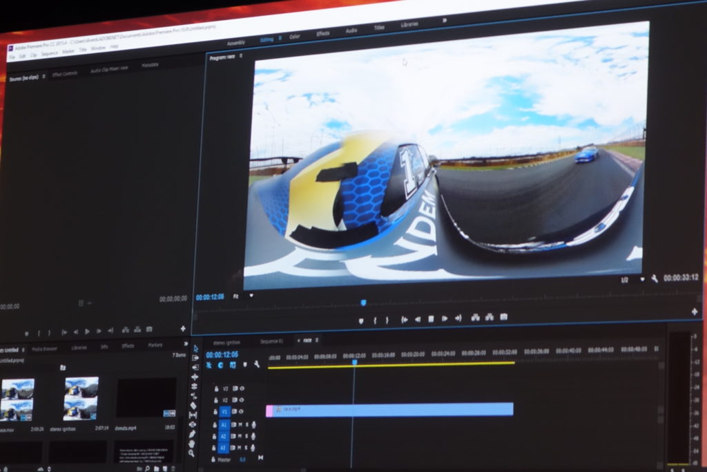 VR 用映像の編集画面