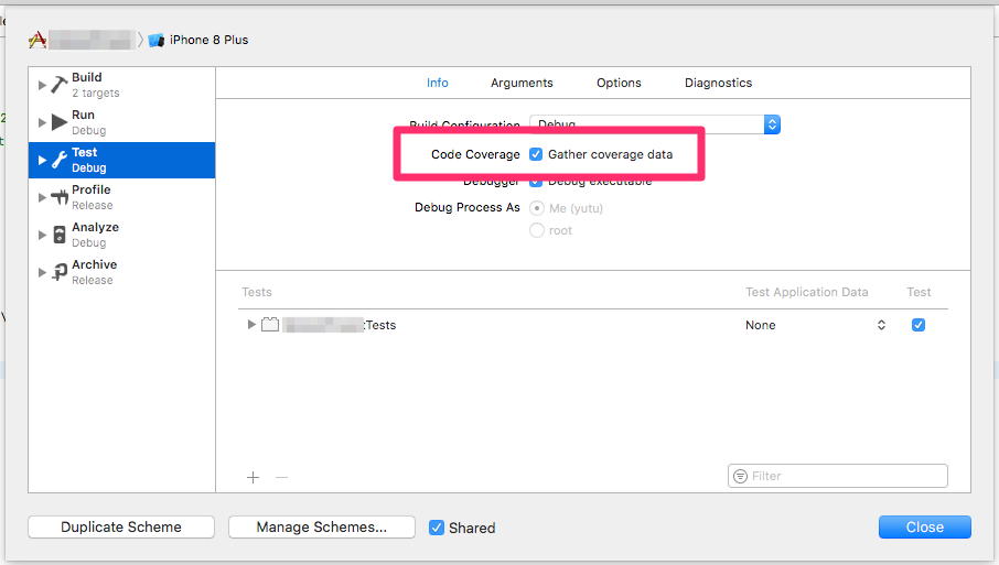 Edit scheme... > Test > Gather coverage data にチェック
