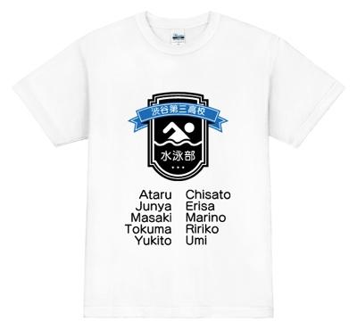 ピクトグラムを使った、コミカルな水泳イラストTシャツ