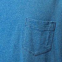 ポケット付インディゴTシャツの生地画像