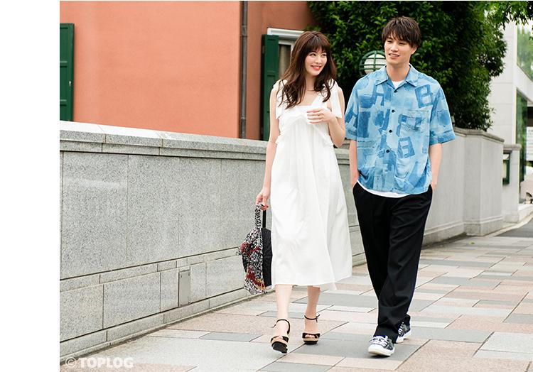 鈴木伸之さんと岡本杏理さんのカップルコーデの着こなし