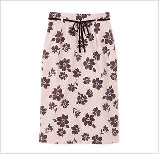 フロッキーフラワープリントタイトスカート