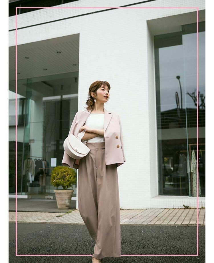都会的な雰囲気のジャケット×パンツスタイル