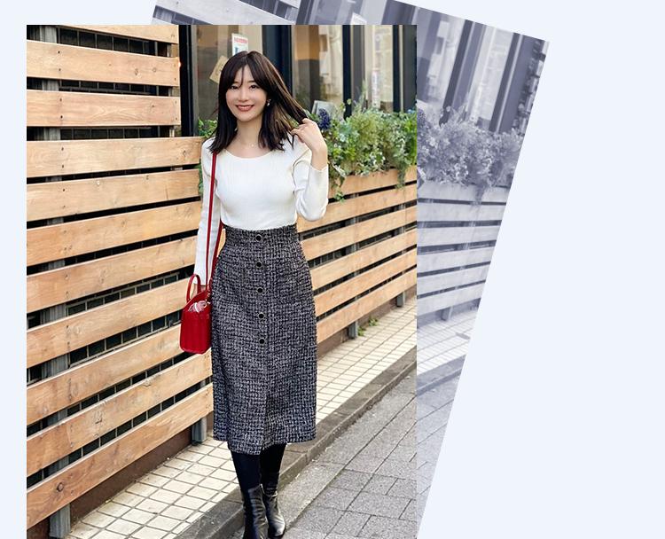 金城ゆき ツイードタイトスカート