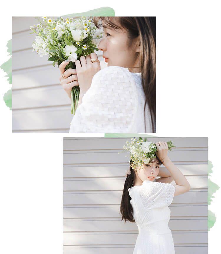 宮本茉由 織り模様のレースが可愛いまっ白のワンピース