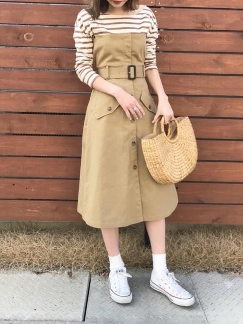 ジャンパースカート風トレンチスカート