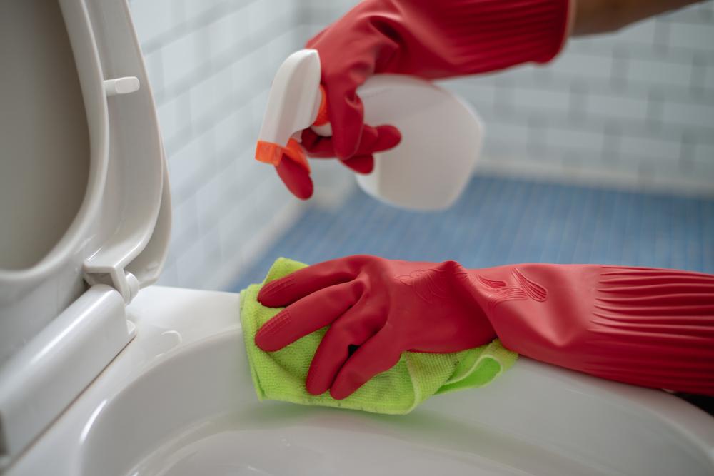 ウォシュレットトイレを掃除している女性