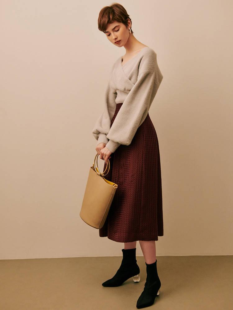 ジャガード織りのボルドースカート