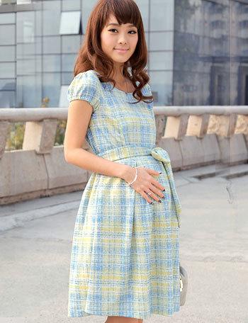 日本製ドレス 手書き風チェックプリント 授乳ワンピース