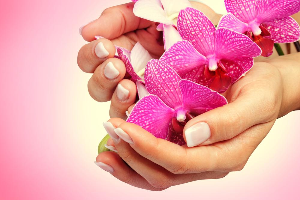きれいな爪と花を持っている人