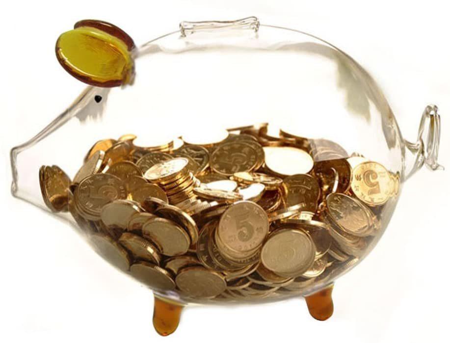 透明ガラスのぽっちゃりブタ貯金箱