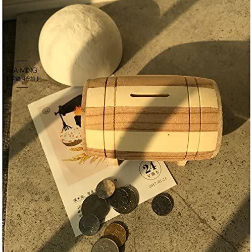 Woliwowa ボーダー柄の丸太風貯金箱