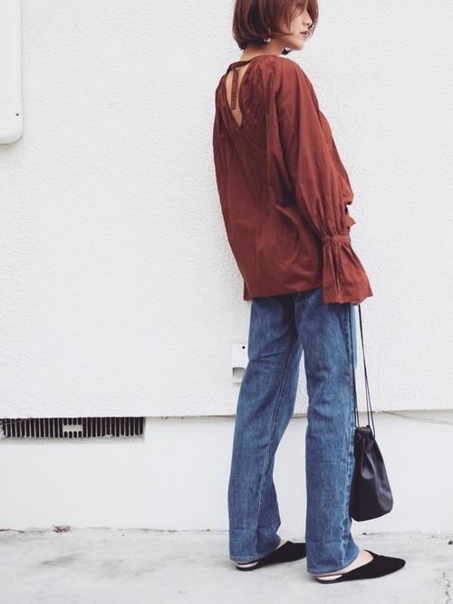 ブラウンシャツ×デニム