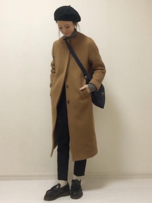 ノーカラーコートを使った氷点下の服装