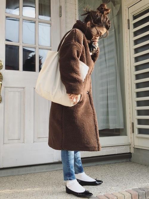 ボアコートを使った氷点下の服装