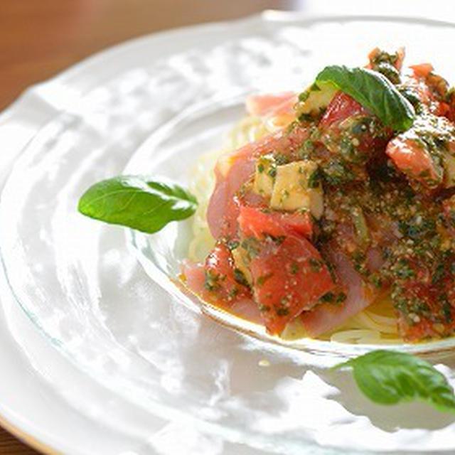 <生ハムの冷製スパゲティカプレーゼソース>のレシピ