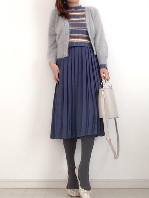 シャギーカーディガン×プリーツスカート