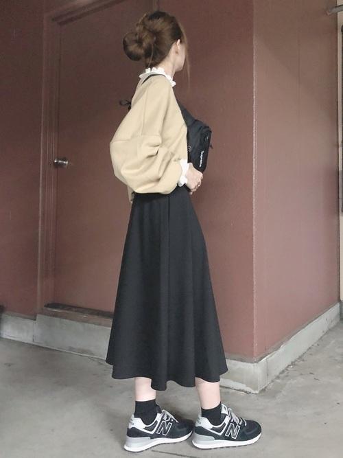 黒ソックスを使ったコーデ■スカート■【1】
