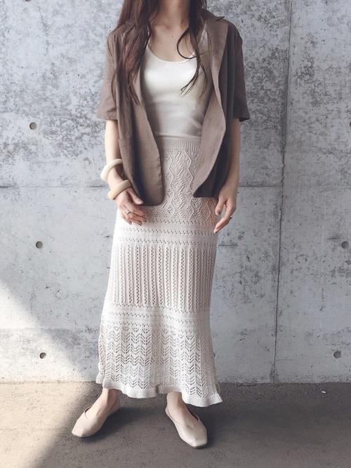 リネンジャケット×ニットスカート
