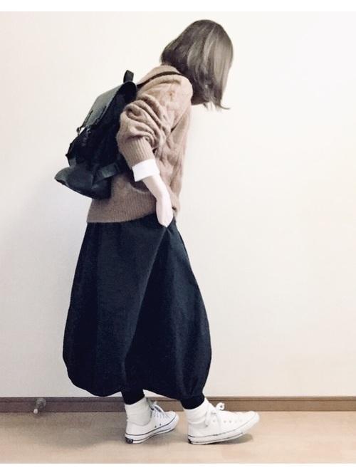 バルーンスカートの冬色コーデ