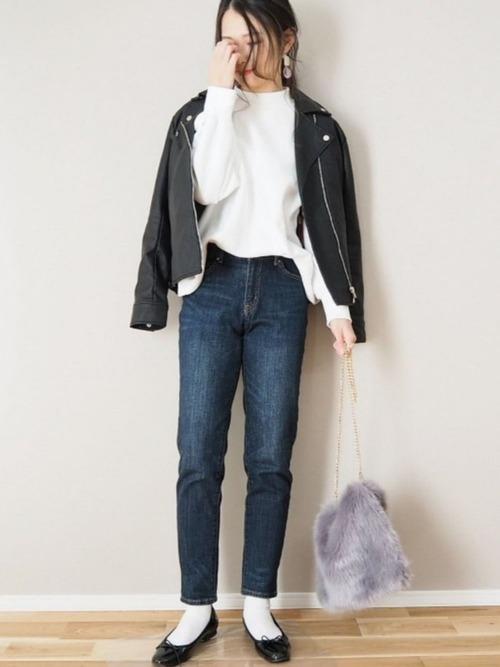ライダースジャケットを使った神戸の服装
