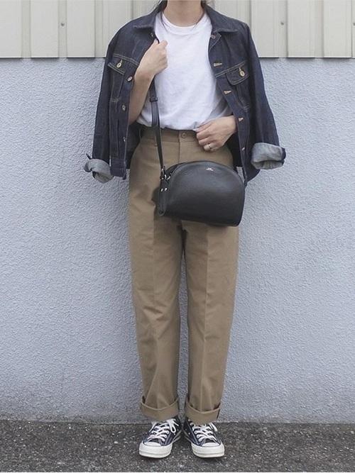 デニムジャケットを使った神戸の服装