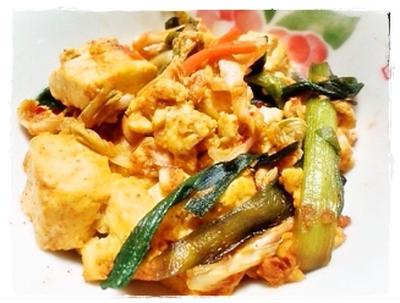 塩麹のニラキムチ豆腐炒めのレシピ