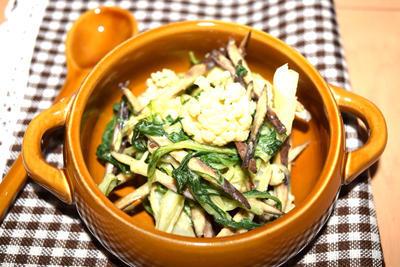 ごぼうと水菜とカリフラワーの酢味噌和え、ダイエットに最適のレシピ