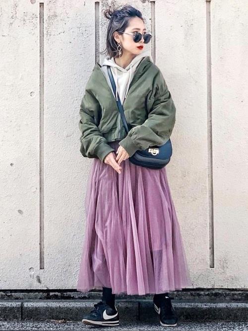 MA-1×ピンクのチュールスカート