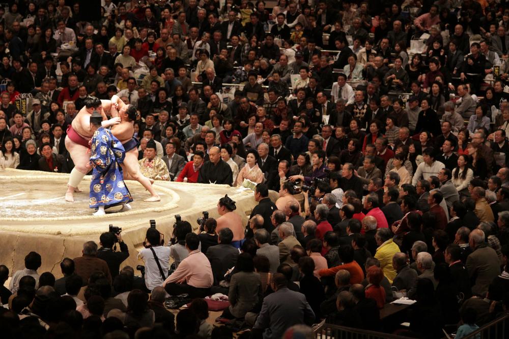 相撲観戦中の観客